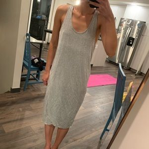 Gap gray white stripe midi tank dress
